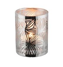 Lykta rostfri med glasrör mönster 7,5 cm