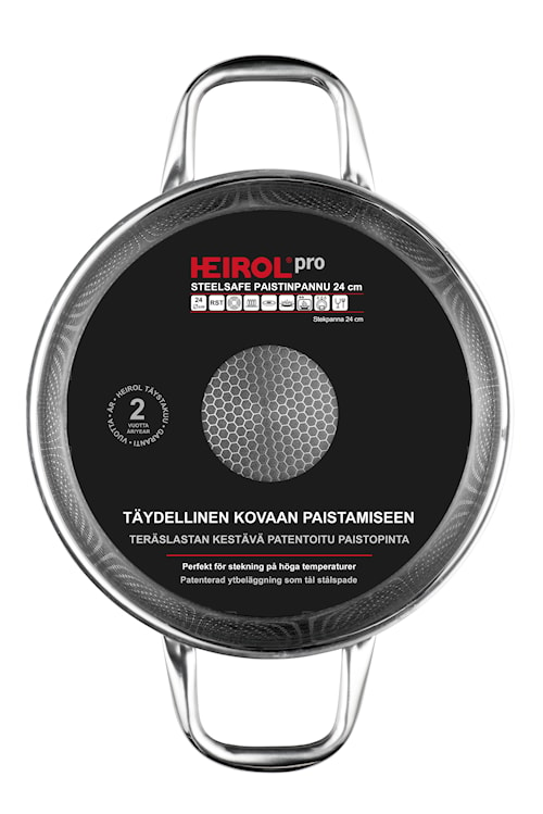 Steelsafe stegepande med to håndtag 24 cm