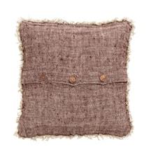 Pudebetræk, burgundy, linned m/frynser