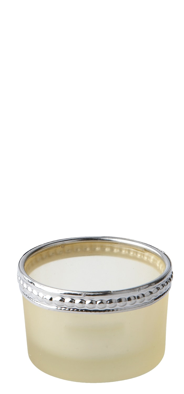 Fyrfadsstage - Glas - Metal - Gul - Sølv - Frostet - D 6,0cm - H 3,5cm - Stk.