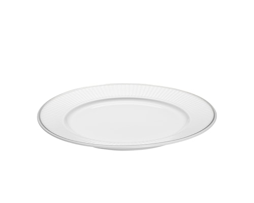 Vienne Plissé tallrik flat vit/platina 17 cm