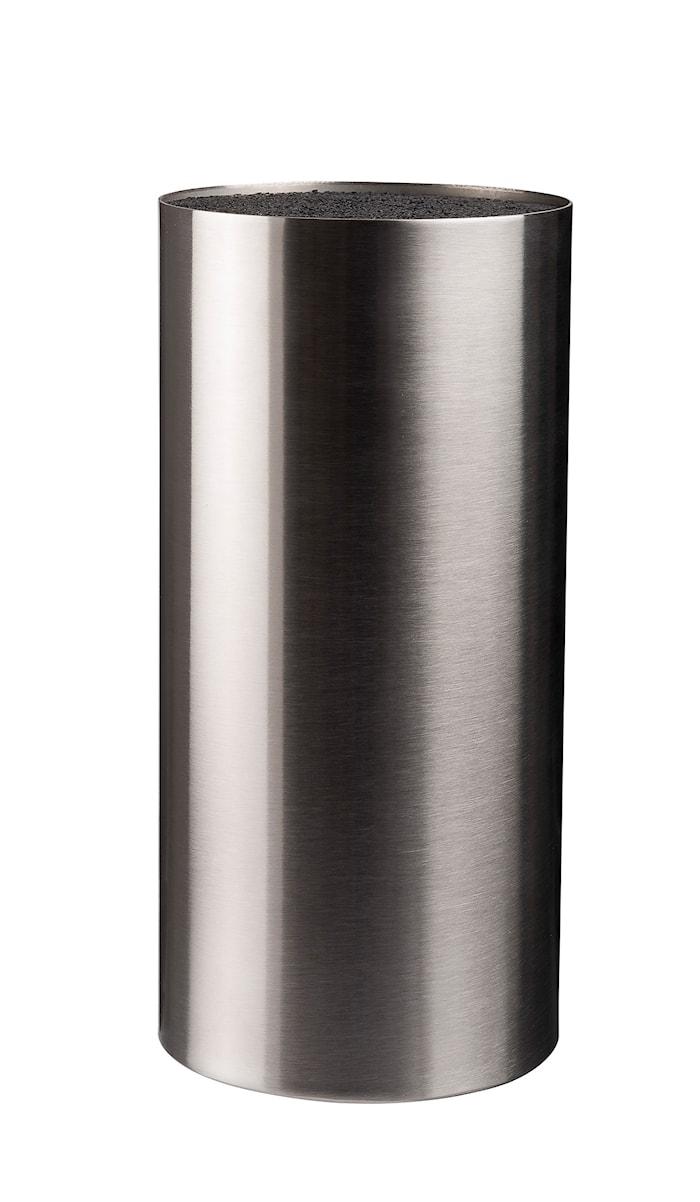 Knivblokk børstet overflate rustfritt stål høyde 22,5 cm