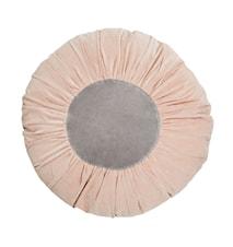 Rund pude Ø 60 cm - Lyserød/grå