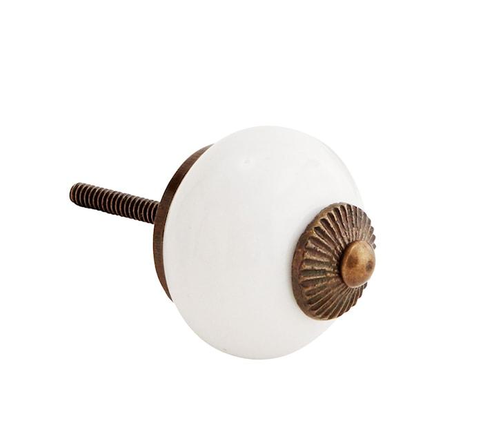 Dørhåndtak Ø 4 cm - Messing/hvit