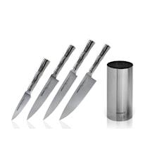 BAMBOO Knivsett 4 kniver + Knivblokk