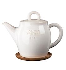 Höganäs Keramik tekanna 1,5 L med träfat vit blank
