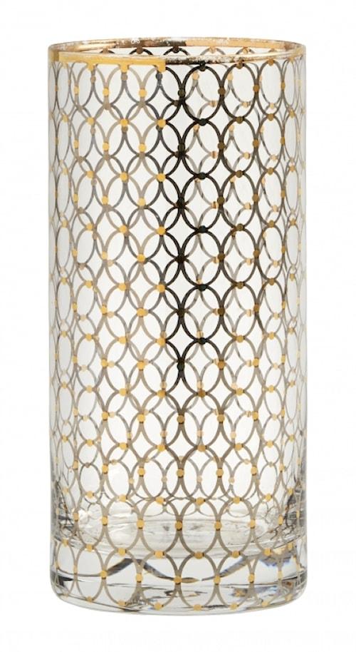 Dricksglas Tall Gold pattern 15cm