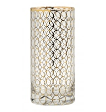 Clear tall glass w. gold pattern