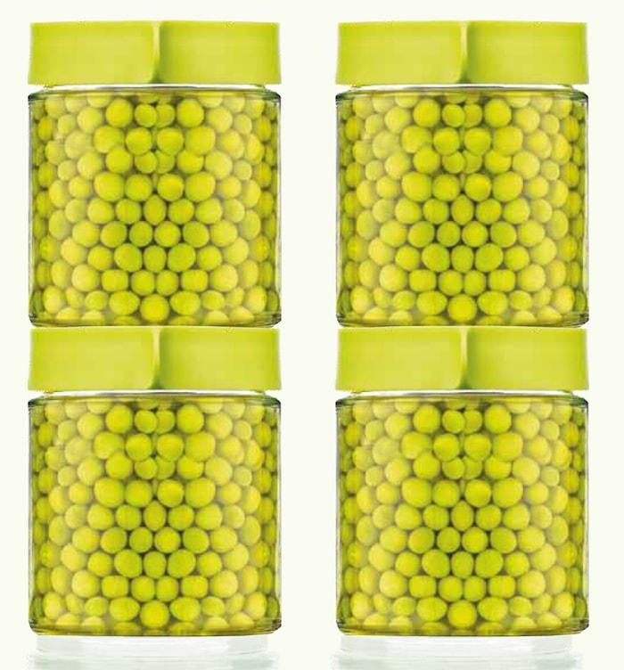 Glasburkar med lock 4 x 40 cl Grön