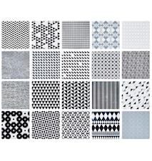 Kakkel - m. grafisk mønster - 20 usorteret - Keramik - Hvid - Sort - H 0,7cm - L 10,0cm - B 10,0cm - Stk.