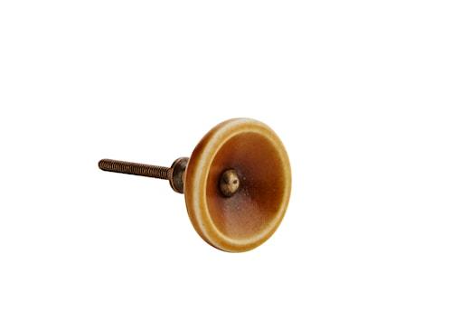 Dørhåndtak Ø 4 cm - Sennepsgul/messing