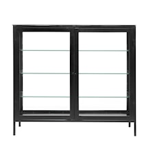 MONDO buffet, black w/glass back
