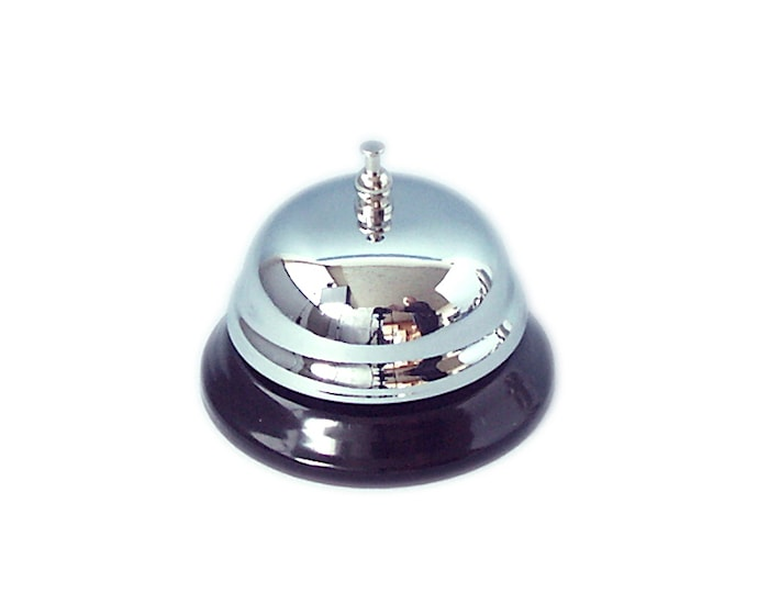 Receptionsklokke Ø9cm stål/sort