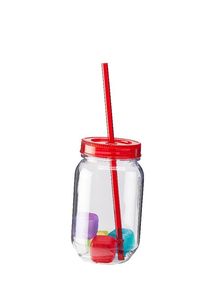 Glas hårdplast rött lock sugrör 4 st iskuber 50 cl