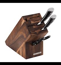 Knivblock, Akacia, för 5 knivar, bryne och sax