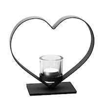 Ljusstake svart smide hjärta  glaskupa  21 cm