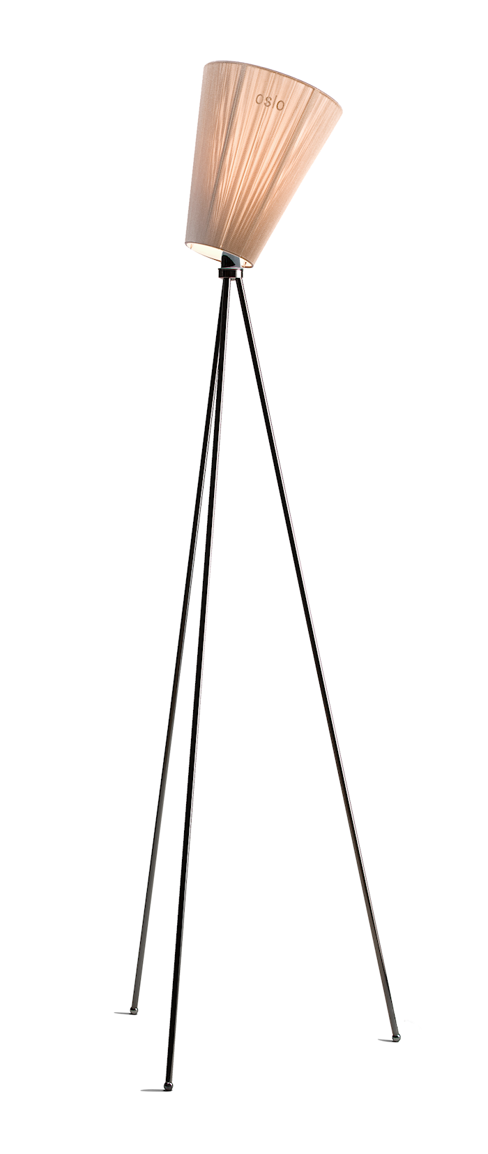 Oslo Wood gulvlampe - Beige skærm/Sort fod