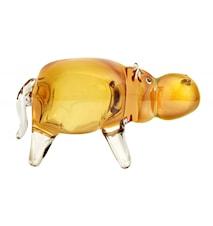 Glasfigur Flodhäst Bärnstensfärgad