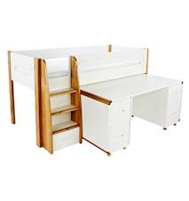 Curve Loftseng med skrivebord fire skap - Hvit