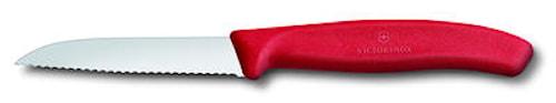 grønsak- & skrællekniv 8 cm, rødt håndtag, bølgetandat liget blad