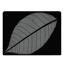Dækkeserviet - m. blad - Gummi - Sort - Sølv - H 0,5cm - L 40,0cm - B 30,0cm - Stk.