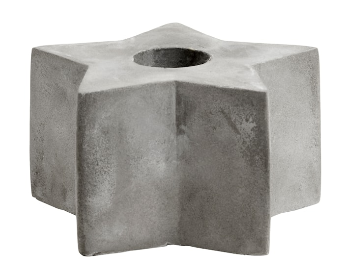 Cement candle holder, star, M